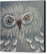 Owl In The Blue Canvas Print by Ginny Youngblood