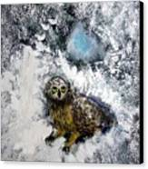 Owl On Snowy Afternoon Canvas Print