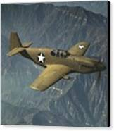 P51 Mustang In Flight Canvas Print by Padre Art