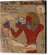 Painted Relief Of Thutmosis IIi Canvas Print by Kenneth Garrett
