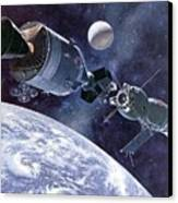 Painting Of Apollo-soyuz Test Project Canvas Print