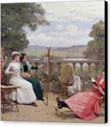 Painting On The Terrace Canvas Print