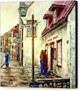 Paintings Of Quebec Landmarks Aux Anciens Canadiens Restaurant Rainy Morning October City Scene  Canvas Print