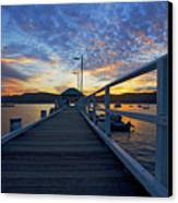 Palm Beach Wharf At Dusk Canvas Print by Avalon Fine Art Photography