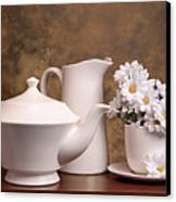 Panoramic Teapot With Daisies Canvas Print