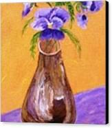 Pansies In Brown Vase Canvas Print by Jamie Frier