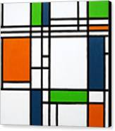 Parallel Lines Composition With Blue Green And Orange In Opposition Canvas Print by Oliver Johnston