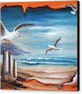 Parchment Seascape Canvas Print by Joni McPherson