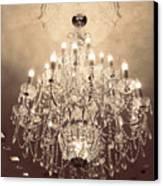Paris Dreamy Golden Sepia Sparkling Elegant Opulent Chandelier Fine Art Canvas Print by Kathy Fornal