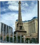 Paris Hotel And Bellagio Fountains Canvas Print