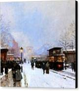 Paris In Winter Canvas Print by Luigi Loir