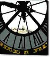 Paris Through The Clock Canvas Print