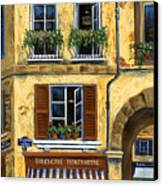 Parisian Bistro And Butcher Shop Canvas Print by Marilyn Dunlap