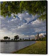 Park Scene With Rower And Skyline Canvas Print