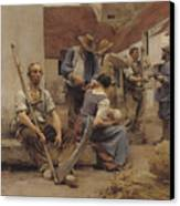 Paying The Harvesters Canvas Print by Leon Augustin Lhermitte