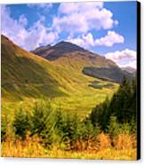 Peaceful Sunny Day In Mountains. Rest And Be Thankful. Scotland Canvas Print by Jenny Rainbow
