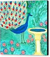 Peacock And Birdbath Canvas Print by Sushila Burgess