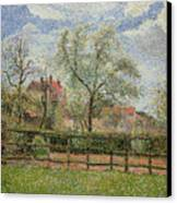 Pear Trees And Flowers At Eragny Canvas Print by Camille Pissarro