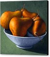 Pears In Blue Bowl Canvas Print