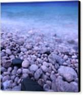 Pebble Shore Of Georgian Bay In Winter Canvas Print by Oleksiy Maksymenko