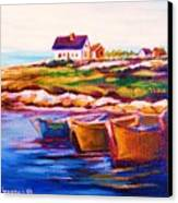 Peggys Cove  Four  Row Boats Canvas Print