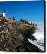 Pemaquid Point Lighthouse - Seascape Landscape Rocky Coast Maine Canvas Print by Jon Holiday