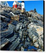 Pemaquid Point Lighthouse Reflection - Seascape Landscape Rocky Coast Maine Canvas Print