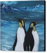 Penguin Family Expectant Again Canvas Print by Cynthia Adams