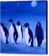 Penguins On A Night Out.sold Canvas Print by Cynthia Adams
