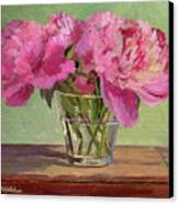 Peonies In Tumbler Canvas Print