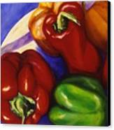 Peppers In The Round Canvas Print