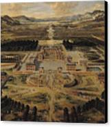 Perspective View Of The Chateau Gardens And Park Of Versailles Canvas Print by Pierre Patel