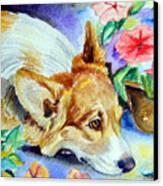 Petunias - Pembroke Welsh Corgi Canvas Print by Lyn Cook