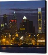 Philadelphia Skyline At Night Canvas Print by Brendan Reals