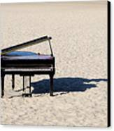 Piano On Beach Canvas Print by Hans Joachim Breuer