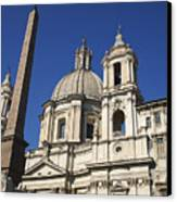 Piazza Navona. Navona Place. Church St. Angnese In Agona And Egyptian Obelisk. Rome Canvas Print by Bernard Jaubert