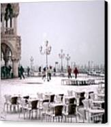 Piazzetta San Marco In Venice In The Snow Canvas Print