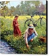Picking Yellow Flowers Canvas Print by Roelof Rossouw