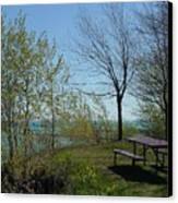 Picnic Table By The Lake Photo Canvas Print