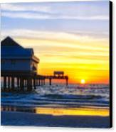 Pier  At Sunset Clearwater Beach Florida Canvas Print