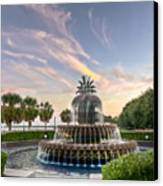 Pineapple Fountain Sunset - Charleston Sc Canvas Print by Drew Castelhano