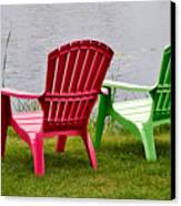 Pink And Green Lounging Chairs By The Lake Canvas Print by Louise Heusinkveld