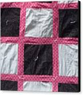 Pink White And Black Dot Quilt Canvas Print by Brianna Emily Thompson