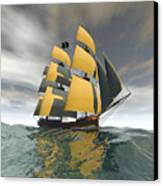 Pirate Ship On The High Seas Canvas Print by Carol and Mike Werner