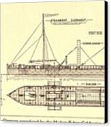 Plan Of Robert Fultons First Steamboat Canvas Print by Everett