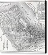 Plan Of The City Of New York Canvas Print by American School