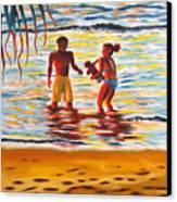Play Day At Jobos Beach Canvas Print by Milagros Palmieri