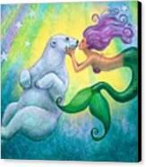 Polar Bear Kiss Canvas Print