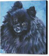 Pomeranian Black Canvas Print by Lee Ann Shepard