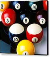 Pool Balls On Tiles Canvas Print by Garry Gay